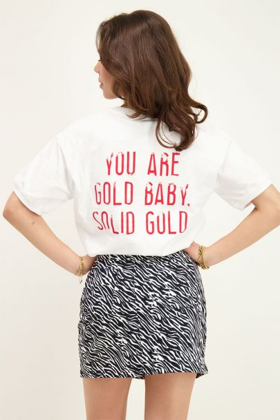 Wit T-shirt solid gold