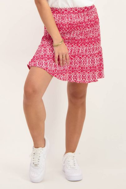 Red skirt with print & smock
