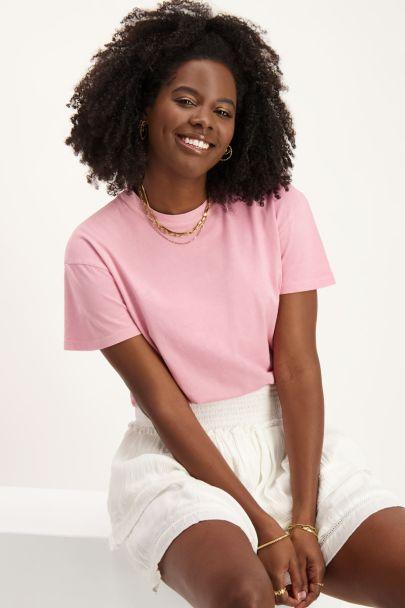 Roze T-shirt met wassing