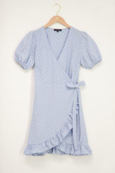 Blauwe embroidery dress