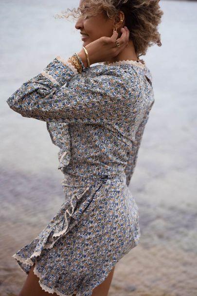 Overslagrokje met bloemenprint & crochet