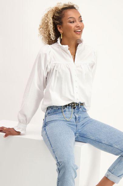 Witte poplin blouse met ruffle