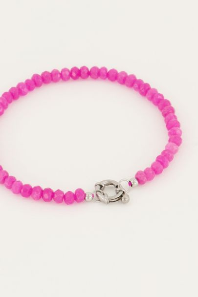 Roze kralen armband met slotje