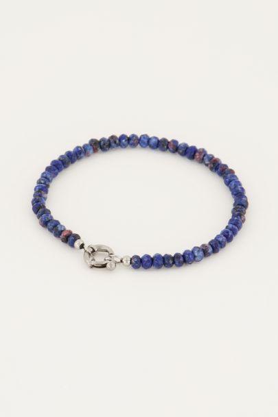 Donkerblauwe kralen armband met slotje