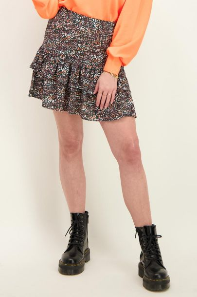 Multicoloured skirt with leopard print