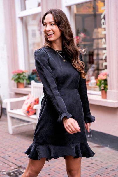 Black lyocell dress with ruffles