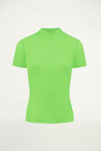Neon groene ribstof top, ribstof top