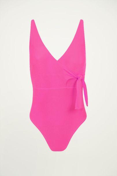 Fuchsia badpak met overslag, wrap swimsuit