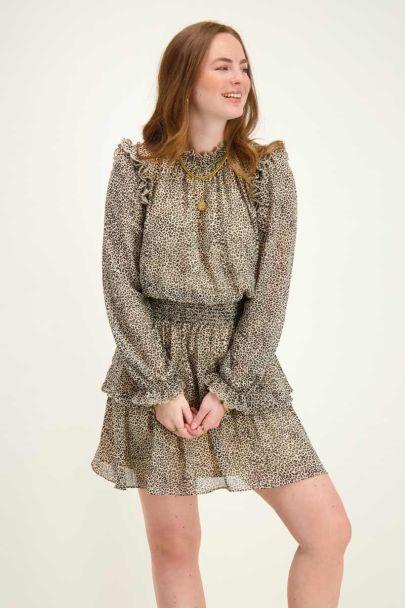 Beige dress with leopard print