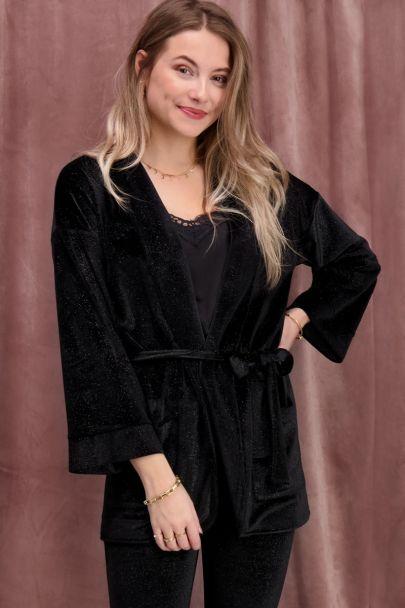 Zwart velvet jasje met glitters