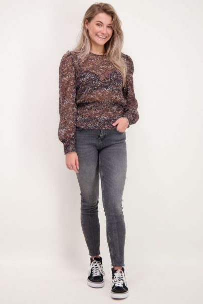 Multikleur blouse met panterprint
