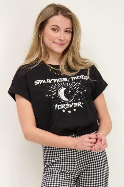 Zwart T-shirt savage mood