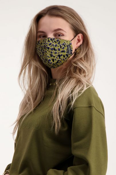 Groen mondkapje met panterprint | Bekijk My Jewellery