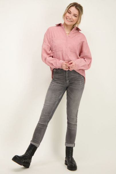 Pink oversized corduroy blouse