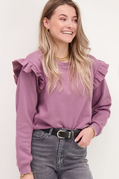 Purple sweater with ruffles