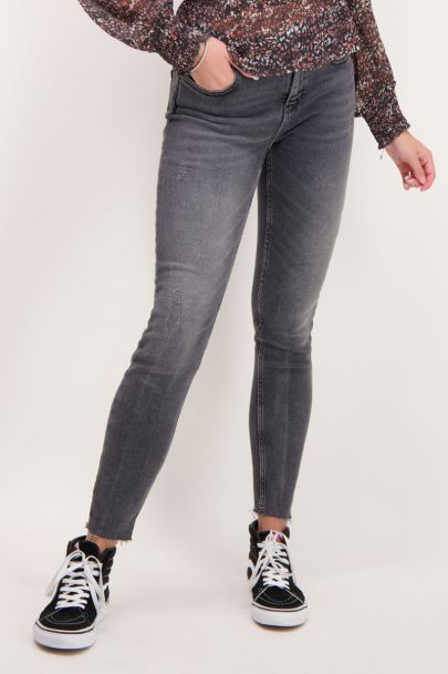 Grijze high waisted skinny jeans