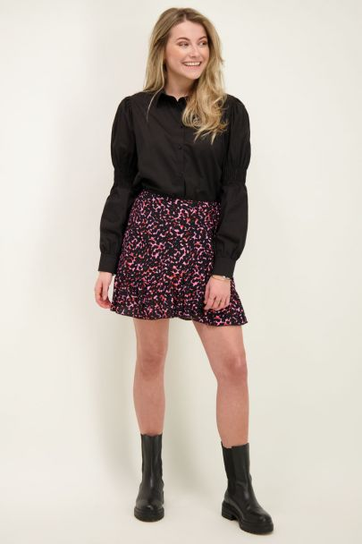 Black blouse with smock sleeves