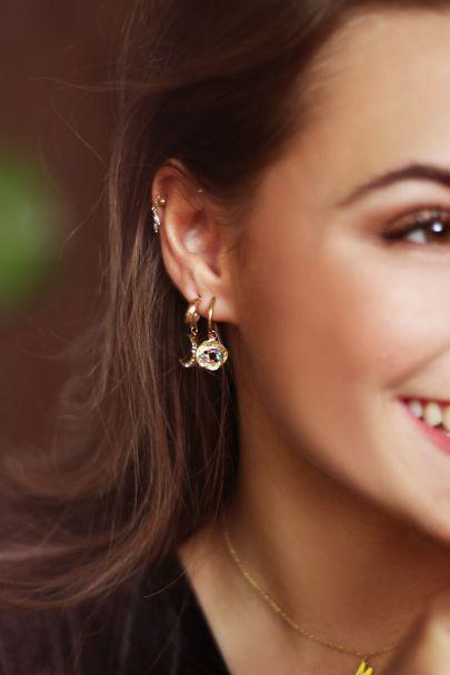 Hoop earrings with multi-coloured rhinestone eye