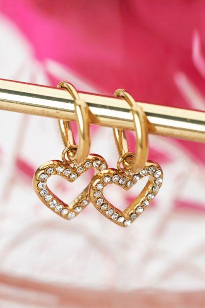 Earrings open heart stones