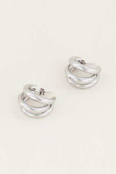 Hoop earrings three small rings, special earrings