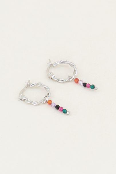 Oorringen met multikleur staafje | Oorbellen staafjes My Jewellery