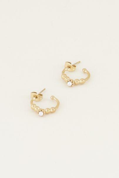 Oorringen bolletjes en parel | Parel oorbellen bij My Jewellery