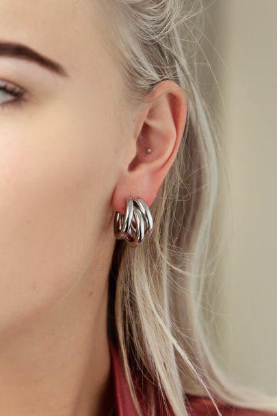 Hoop earrings three small rings