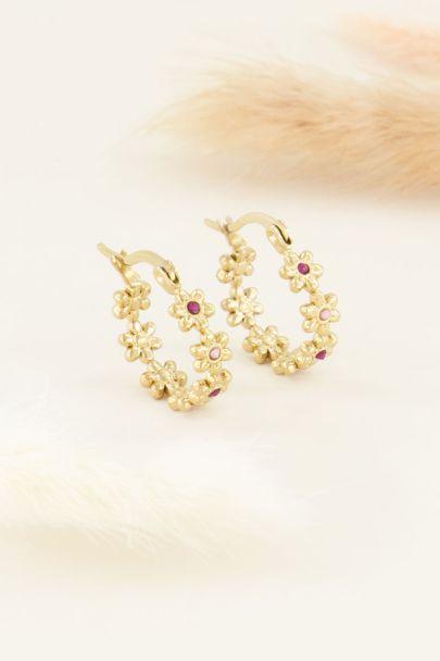 Oorringen bloemetjes met steen | My Jewellery