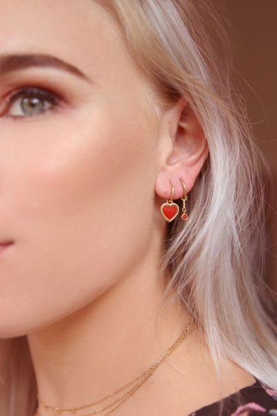 One piece oorring Red Jade