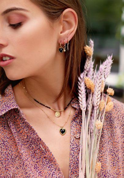 One-piece earring Black Onyx charm