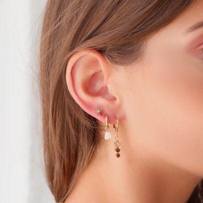 One piece oorring lichte edelsteentjes