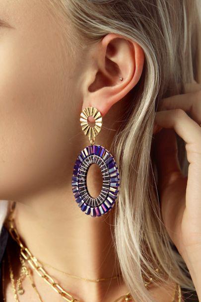Oval drop earrings purple beads
