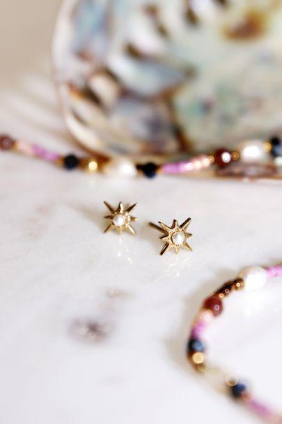 Studs star & pearls