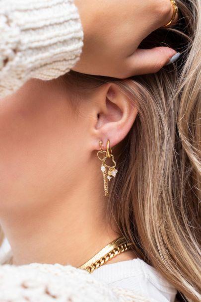 Ohrringe Kette, Perle und Herz