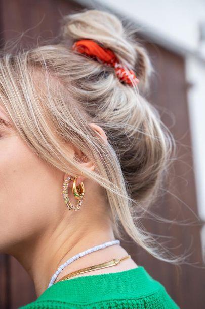 Earrings stones round