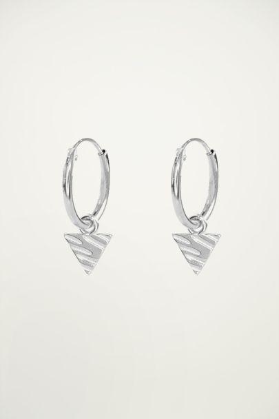 Triangle charm earrings, hoop earrings