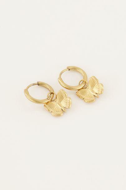 Oorringen hangende vlinder | Oorbellen | My Jewellery
