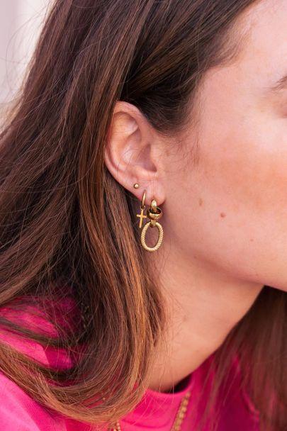 Hoop earrings featuring a cross