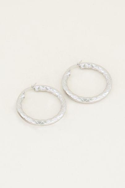 Hoop earrings checkered pattern | Statement earrings from My Jewellery