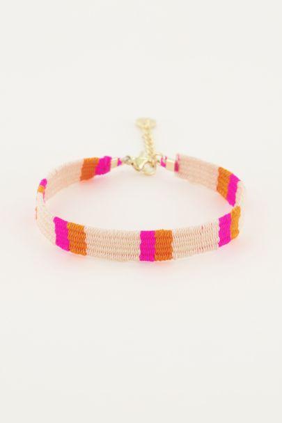Roze/oranje armbandje bohemian
