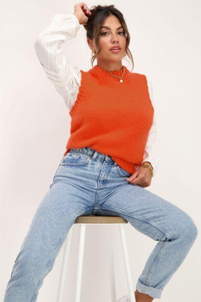 Oranje gebreide spencer