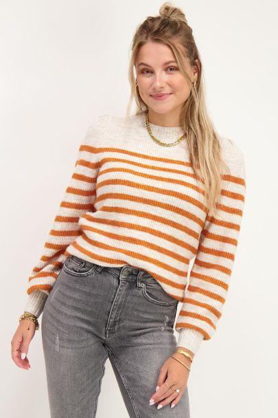 Orangefarbener gestreifter Pullover mit Puffärmeln
