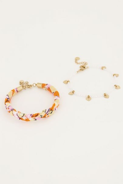 Oranje gevlochten armbanden set | My Jewellery