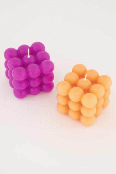 Oranje kaarsen set met bolletjes