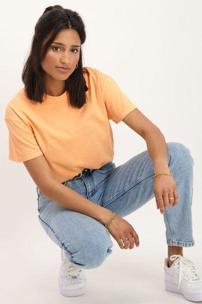 Oranje T-shirt met wassing