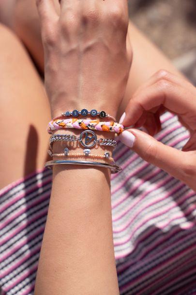 Orange braided bracelets set