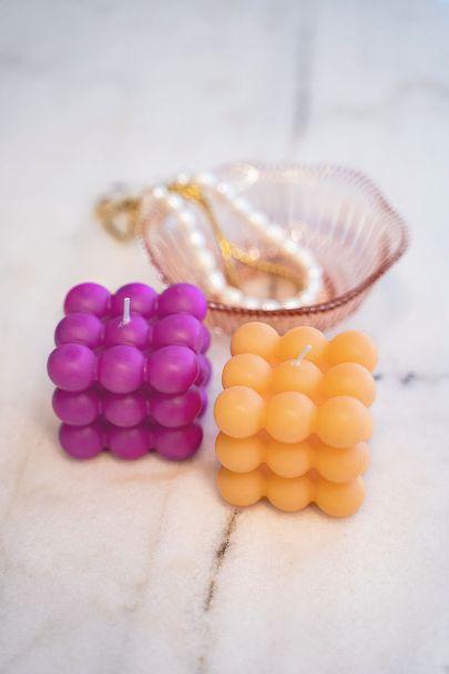 Paars-oranje kaarsen set met bolletjes