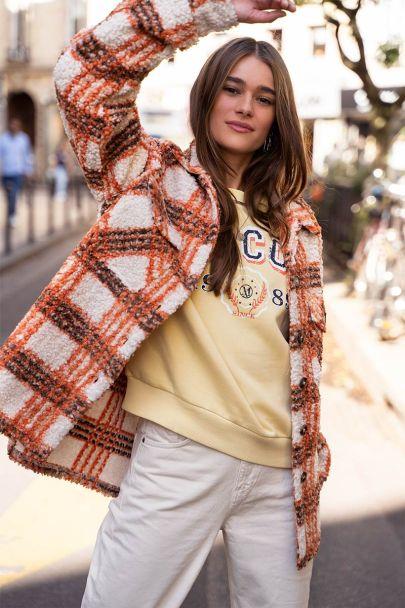 Orange checkered teddy jacket
