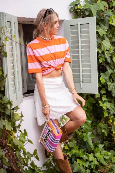 Oranje T-shirt met strepen