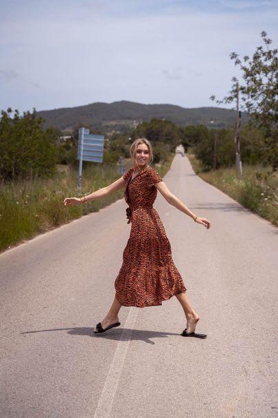 Oranje zebraprint maxi jurk met lurex